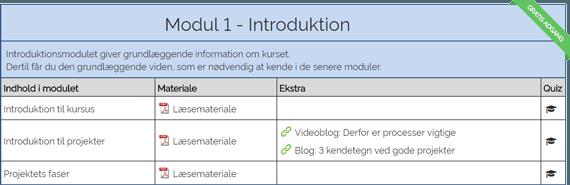 Screenshot af gratis modul på projektledelse kursus
